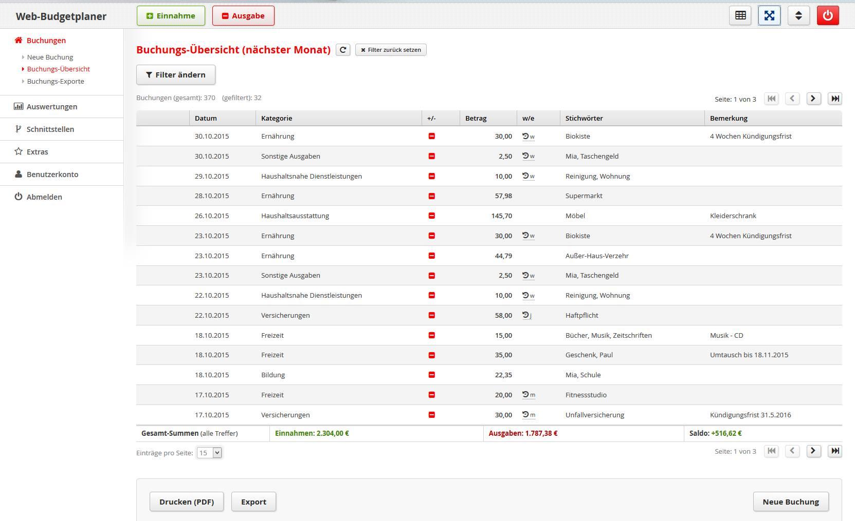 Onlineplaner: Buchungsübersicht des Web-Budgetplaners.