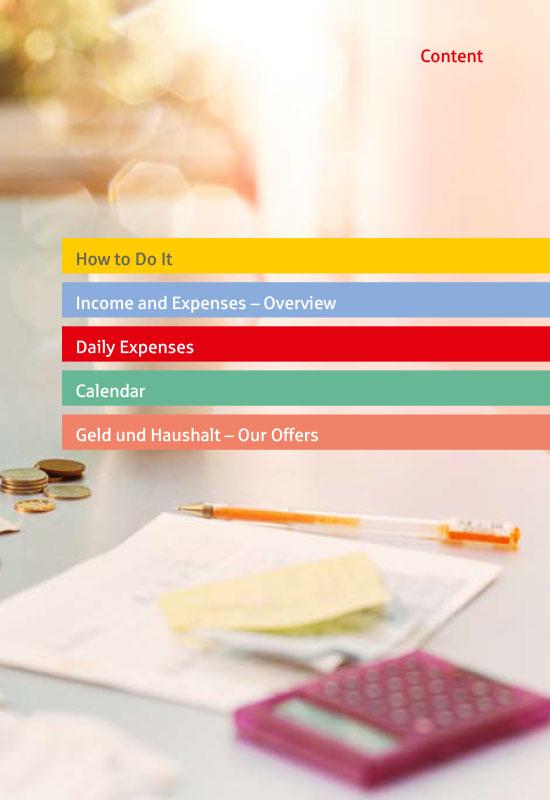 Ansichtsseite aus 'Das einfache Haushaltsbuch' in Englisch: Content.