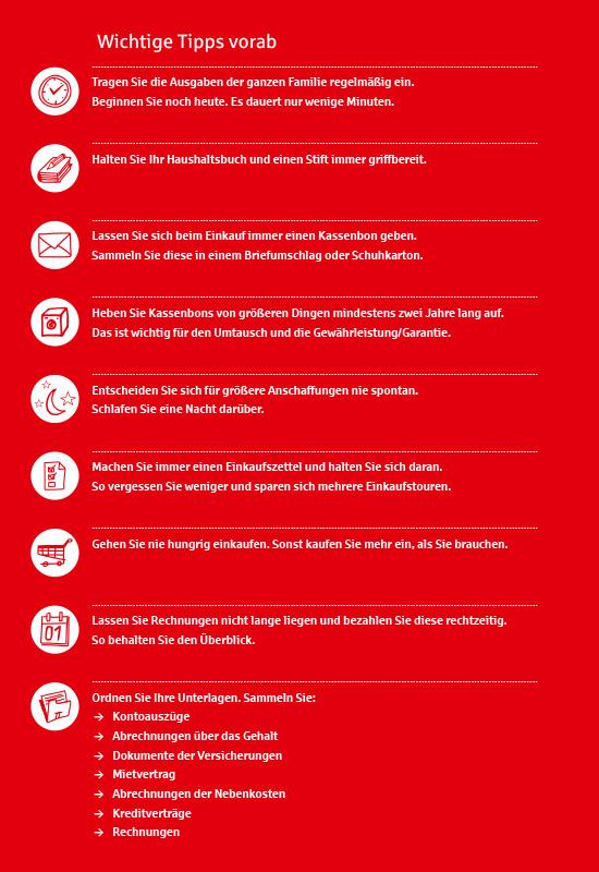 Ansichtsseite aus 'Das einfache Haushaltsbuch': Wichtige Tipps vorab.