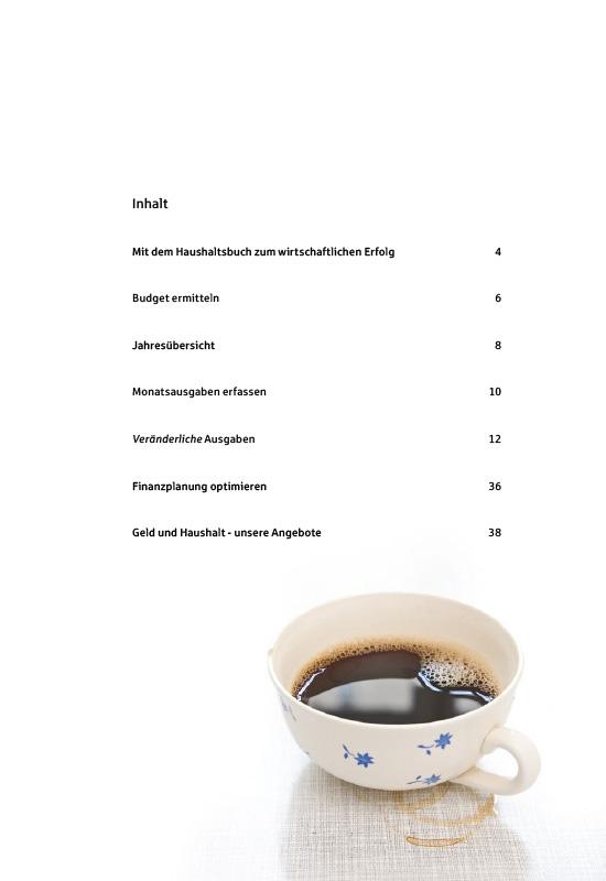 Ansichtsseite aus 'Mein Haushaltsbuch': Inhaltsverzeichnis.