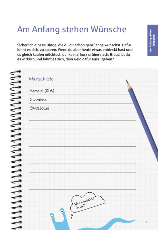 Ansichtsseite aus 'Mein Taschengeldplaner': Wunschliste.