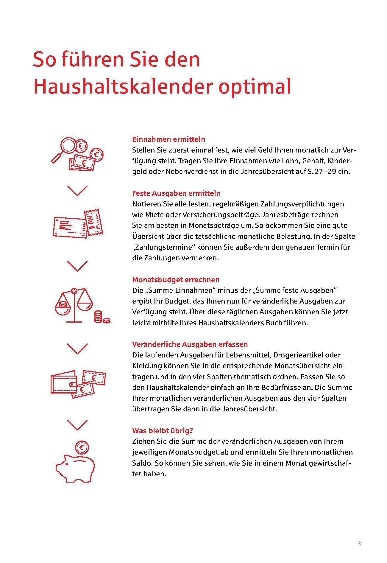 Ansichtsseite zum Führen des Haushaltskalenders 2020