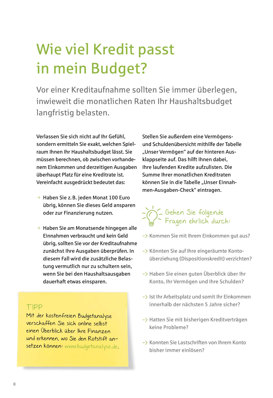 Seite aus dem kostenlosen Ratgeber Finanzieren nach Plan