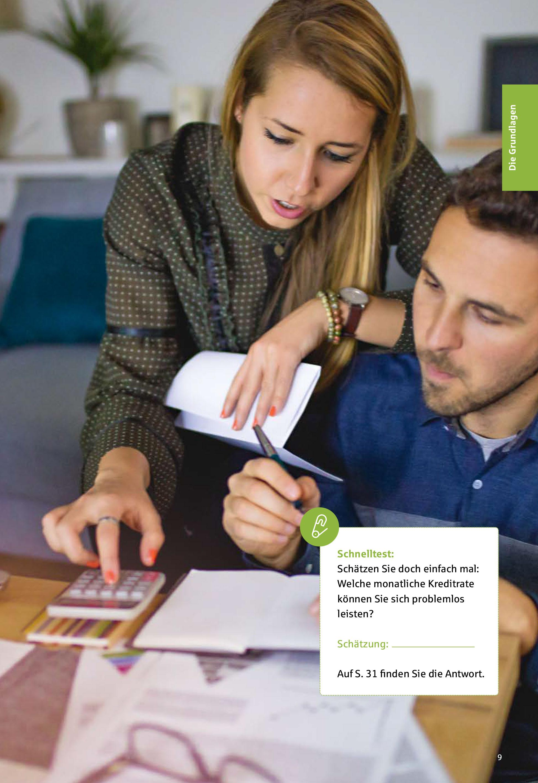 Seite aus dem Kreditratgeber 'Finanzieren nach Plan' mit Schnelltest, welche Kreditrate ins Budget passt
