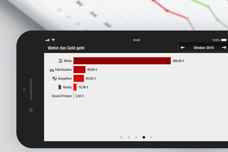 Screenshot: Die Finanzchecker-App zeigt auf einen Blick, wo das Geld geblieben ist.
