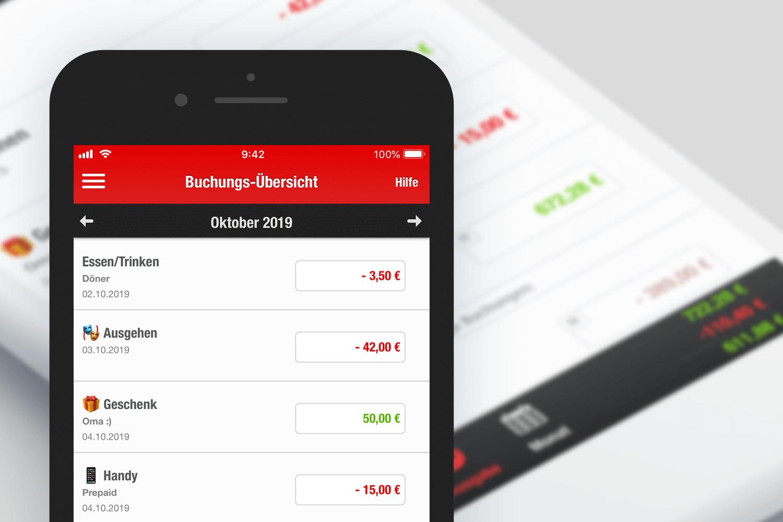 Screenshot: Die Buchungsübersicht in der Finanzchecker-App zeigt alle Einnahmen und Ausgaben.