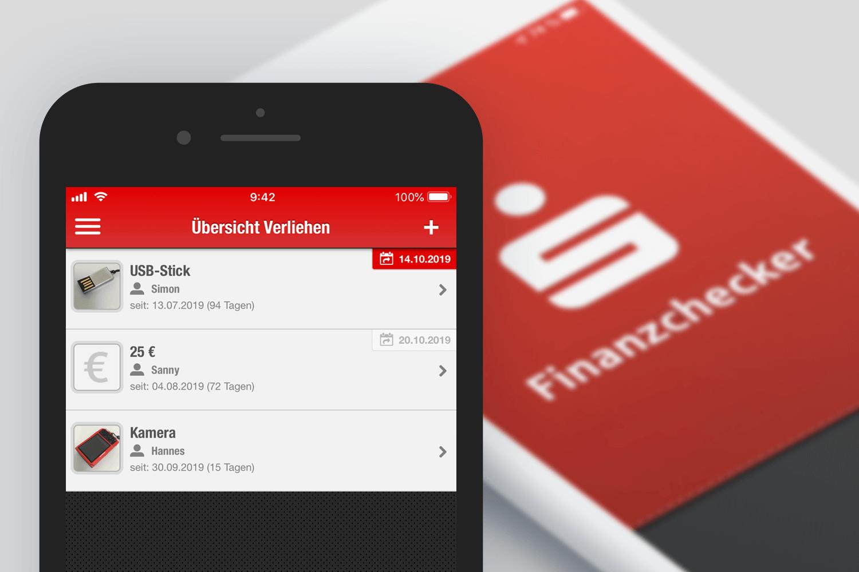 Screenshot: Die Finanzchecker-App bietet auch eine Übersicht zu verliehenen und geliehenen Sachen an.