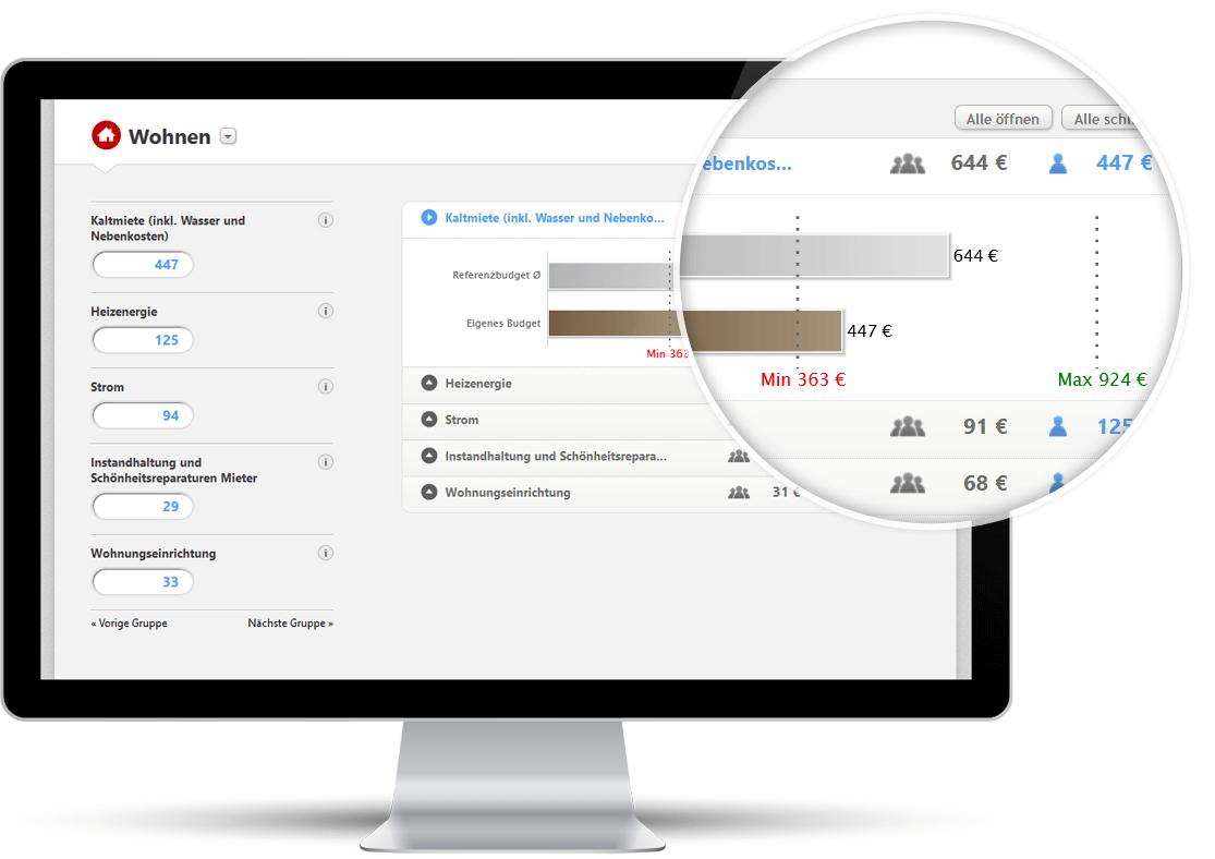 Screenshot: In den Referenzbudgets lassen sich eigene Ausgabenwerte eingeben und speichern