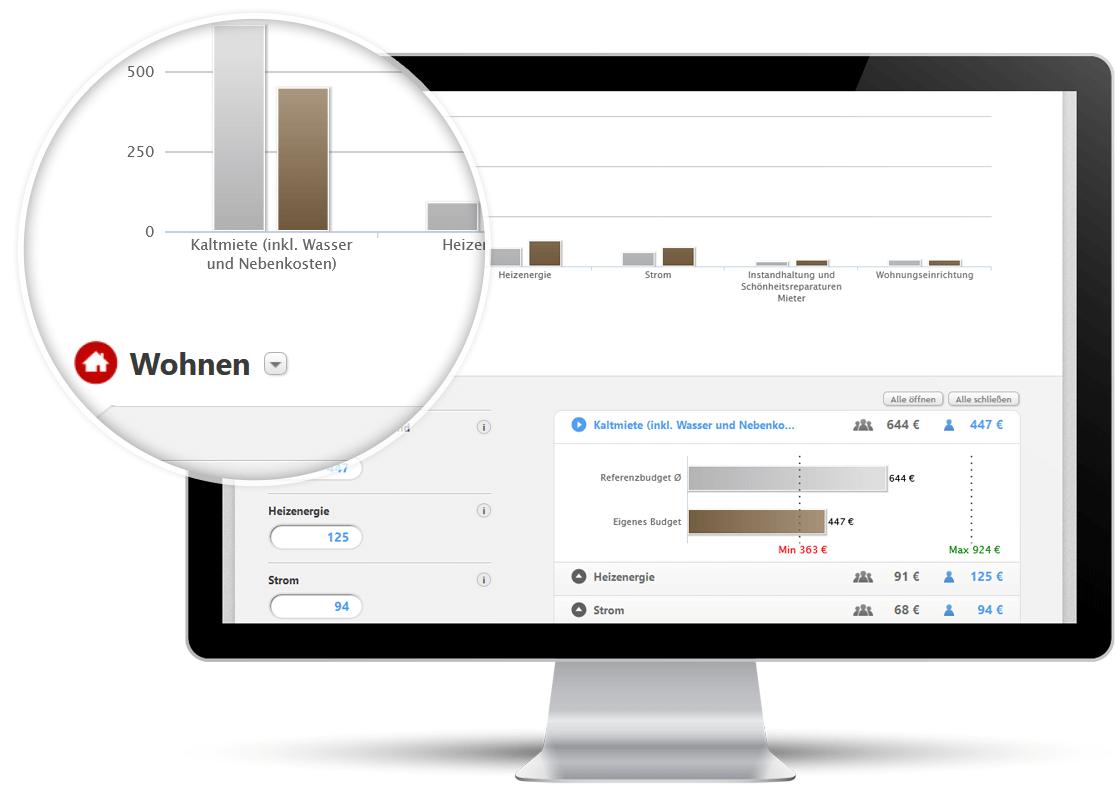 Screenshot: Vergleichen Sie Ihre Ausgaben mit dem Durchschnitt