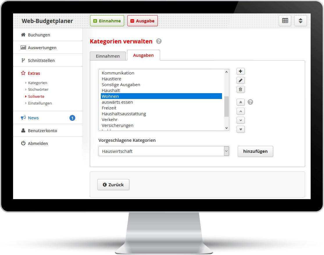 Screenshot: Im Web-Budgetplaner können Sie Ihre eigenen Kategorien eingeben.