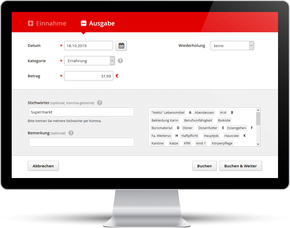 Screenshot: Im Web-Budgetplaner lassen sich leicht Einnahmen und Ausgaben eingeben.