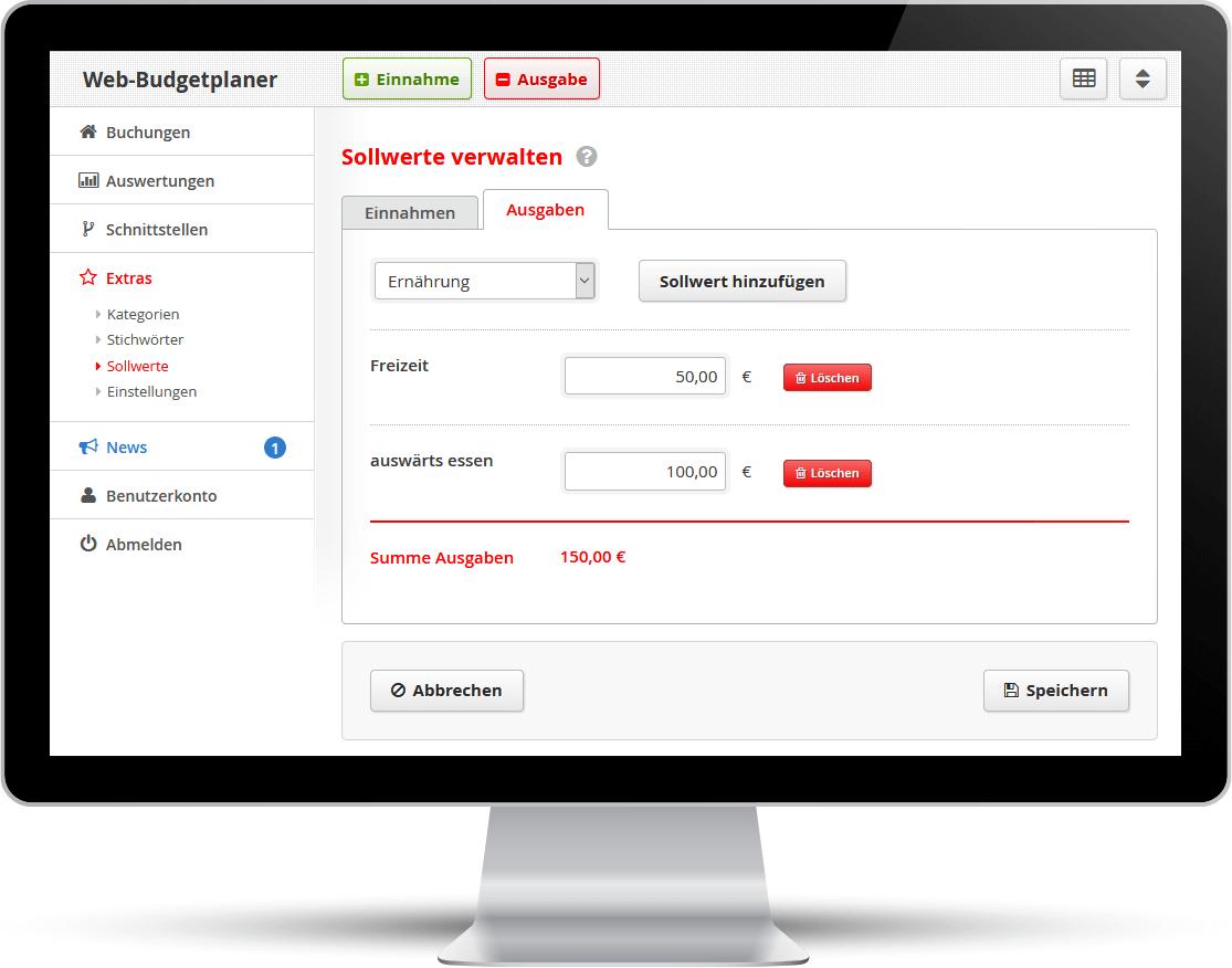 Screenshot: Im Web-Budgetplaner lassen sich Zielwerte für Ausgaben eintragen.