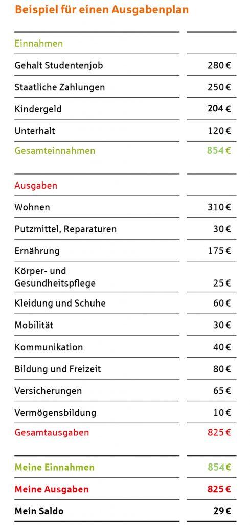 Grafik: Beispiel eines Ausgabenplans für junge Haushalte.